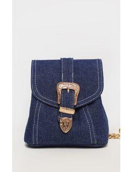 Denim Western Buckle Mini Backpack by Prettylittlething