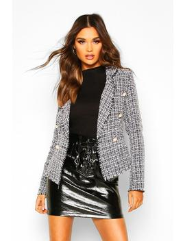 Tweed Cropped Blazer by Boohoo
