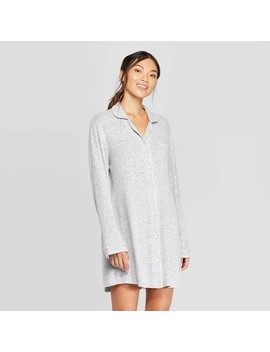 Women's Perfectly Cozy Notch Collar Nightgown   Stars Above™ Light Gray by Stars Above
