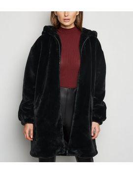 Black Longline Faux Fur Hooded Bomber Jacket by New Look