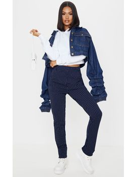 Navy Pinstripe Skinny Trousers by Prettylittlething