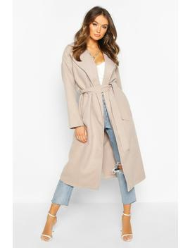 Oversized Wide Collar Robe Coat by Boohoo