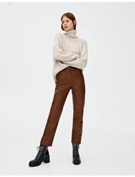 Spodnie Slim Fit Ze Sztucznej Skóry by Pull & Bear