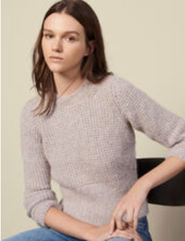 Round Neck Sweater With Rib Knit Effect by Sandro Eshop