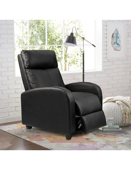 Walnew Home Theater Pu Leather Recliner With Padded Seat And Backrest In Black by Walnew