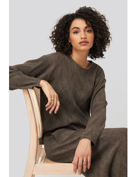 Creased Effect Round Neck Top Brown by Na Kd