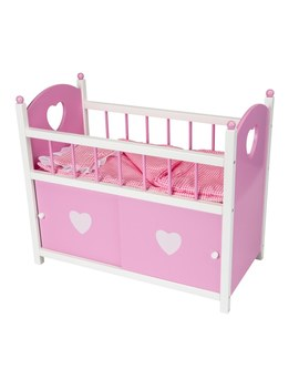 Dolls Wooden Cot With Door by Smyths