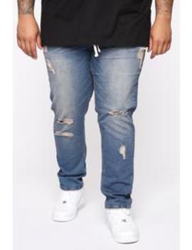 Krown Distress Slim Jean   Vintage Blue Wash by Fashion Nova