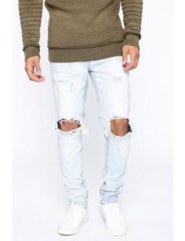 "Weston Road Distressed Skinny Jean 32""   Light Wash by Fashion Nova"