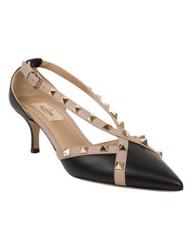 Black Rockstud Cross Strap Leather Kitten Heel   Women by Valentino