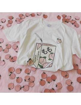 Peach Juice Japanese 90s Kawaii Aesthetic Grunge T Shirt / Unisex Tee / White/ S 2 Xl by Etsy