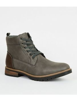 Dark Grey Leather Look Chunky Boots by New Look