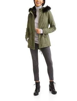 Women's Quilted Twill Anorak With Faux Fur Hood by Jason Maxwell