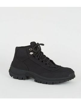 Black Leather Look Hiker Boots by New Look