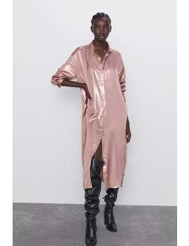 Koszulowa Sukienka Z Metalizowanym WykoŃczeniem by Zara
