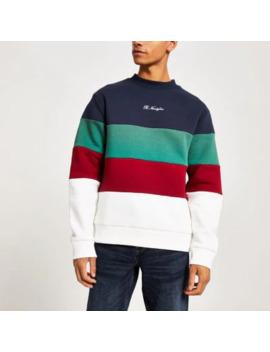 Navy R96 Colour Block Sweatshirt by River Island