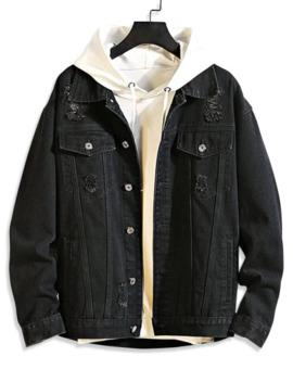 Popular Casual Destroy Wash Ripped Denim Jacket   Black Xs by Zaful
