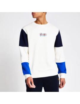 Stone Prolific Colour Block Sweatshirt by River Island