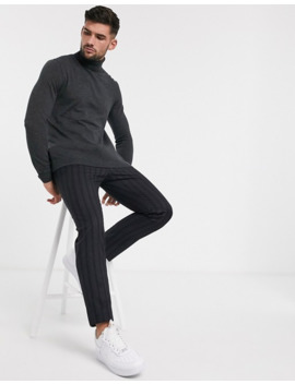 Topman Roll Neck Jumper In Charcoal by Topman