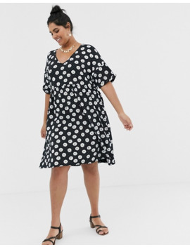 Wednesday's Girl Curve Mini Smock Dress In Daisy Spot Print by Asos