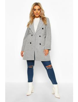 Plus Double Breasted Coat by Boohoo
