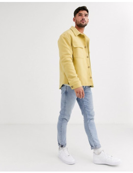 Asos Design Wool Mix Jacket In Yellow by Asos Design