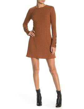 Button Sleeve Solid Knit Dress by Taylor & Sage