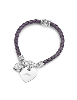 Purple Braided Leather Bracelet by Things Remembered