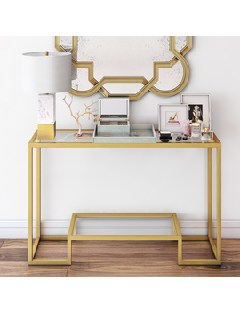 Athena Geometric Luxe Console Table In Gold by Hudson&Canal
