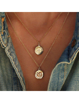 Tocona Boho Star Moon Necklace Double Layered Necklace Gold Chain Choker Coin Necklace Women Accessories Collares Femme 6176 by Ali Express.Com