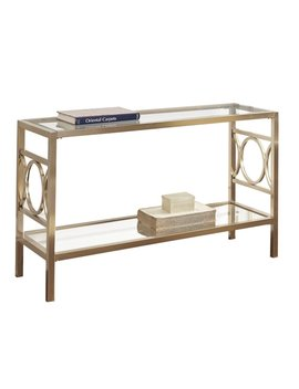 Bowery Hill Glass Top Console Table In Gold Chrome by Bowery Hill