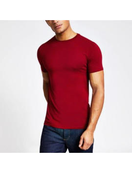 Red Muscle Fit Short Sleeve T Shirt by River Island