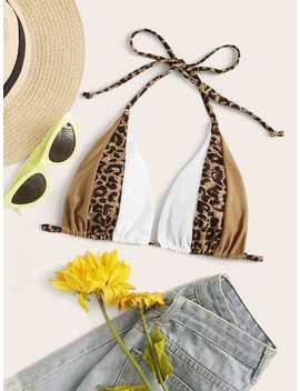 Colour Block Triangle Bikini Top by Shein