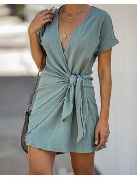 Kauai Crush Woven Wrap Dress   Sage by Vici