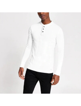 Superdry White Grandad Collar T Shirt by River Island