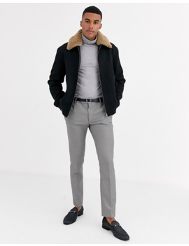 Asos Design Wool Mix Harrington Jacket With Detachable Fleece Collar In Black by Asos Design