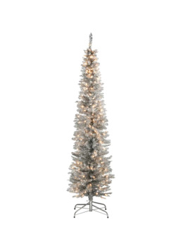6ft. Pre Lit Silver Tinsel Artificial Christmas Tree by National Tree Company