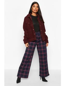 Pantalon Coupe Large à Motif Tartan Petite by Boohoo