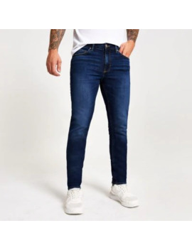 Dark Blue Slim Fit Dylan Jeans by River Island