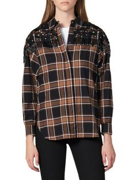 Beans Plaid Embellished Cotton Shirt by Sandro