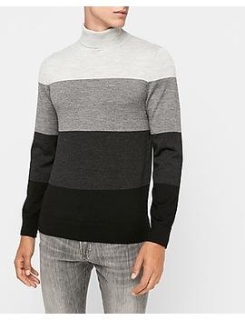Merino Wool Blend Thermal Regulating Striped Turtleneck Sweater by Express