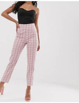 Missguided   Geruite Cigarette Broek In Roze by Missguided