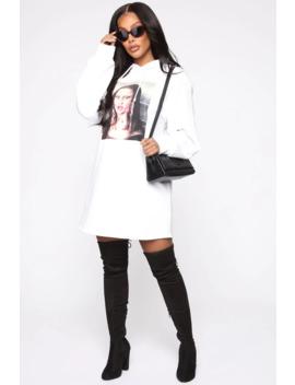 Like Mona Hooded Mini Dress   White by Fashion Nova