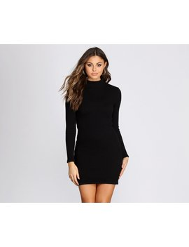 All For Knit Mock Neck Mini Dress by Windsor