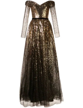 Off The Shoulder Sequin Gown by Marchesa Notte