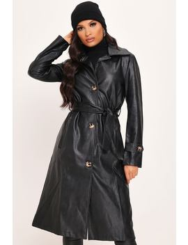 Black Faux Leather Trench Coat by I Saw It First