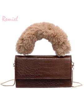 2019 New Fashion Female Tote Bag Quality Pu Leather Women's Crocodile Pattern Handbag Plush Portable Shoulder Messenger Bags by Ali Express.Com