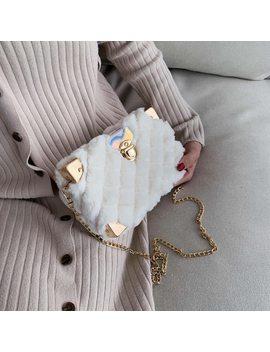 Elegant Female Square Crossbody Bag 2019 Winter New Quality Soft Plush Women's Designer Handbag Chain Shoulder Messenger Bag by Ali Express.Com