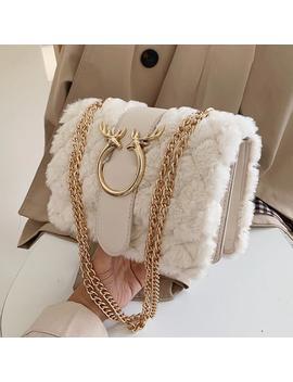 Elegant Female Plaid Square Bag 2019 Winter New Quality Soft Plush Women's Designer Handbag Lock Chain Shoulder Messenger Bags by Ali Express.Com