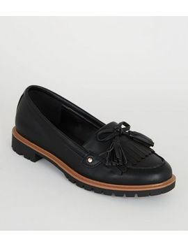 Girls Black Leather Look Chunky Loafers by New Look